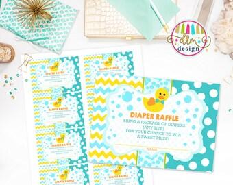 Rubber Duckie Diaper Raffle Card, Duck Baby Shower, Insert Card printable, Printable Diaper Raffle Tickets, Diaper Raffle Card, Rub-a-Dub