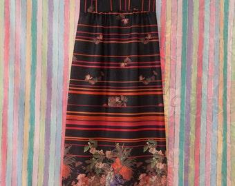 Vintage Gown - Maxi Evening 70s Mod Floral Black