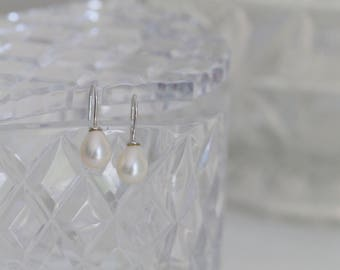 SALE - Sterling Silver Freshwater Pearl Hook Earrings - Perfect for Brides!