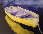 Yellow Boat Watercolor Pr...