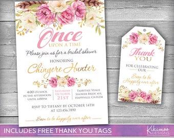 Floral Bridal Shower Invitation   Floral Fairytale Bridal Shower Invitation   Pink Rose Bridal Shower   Fairytale Bridal Shower Invitation