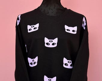 kawaii pastel goth lilac and black baggy sweater - cute three eyed wiccan cat print - warm gothic oversize alien cat jumper