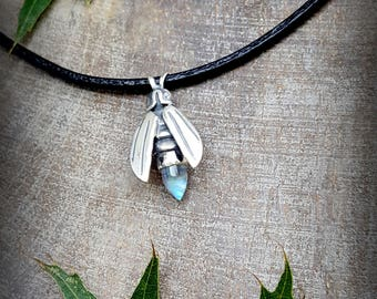 Moonstone Firefly, Silver Firefly Pendant, Rainbow Moonstone Leather Cord, Silver Insect Amulet, Rainbow Moonstone Firefly, June Birthstone