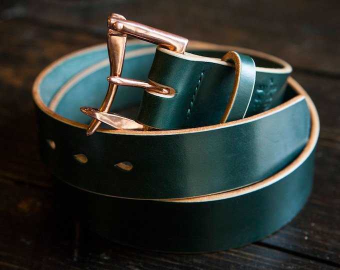 """1.5"""" Green Sedgwick Bridle Quick Release Belt with Copper Buckle"""