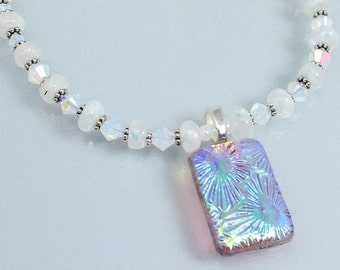 Rainbow Moonstone and Crystal Necklace, June Birthstone Necklace, Dichroic Pendant, Swarovski Crystal, Sterling Silver