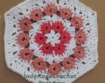 Crochet Pattern, Hexagon, Afghan Block, or Trivet,  African Flower, Flore Pleno (in full blossom) PDF801
