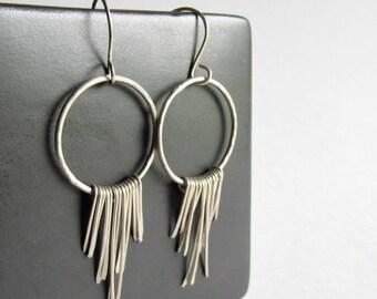 Sterling Silver Boho Fringe Earrings - Boho Chic - Boho Style - Silver Hoop Earrings with Fringe - 25th Anniversary Gift