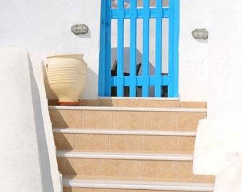 Santorini Greece Photography - Blue Gate Photo - Greek Islands Print - Blue and White Wall Art - Travel Photograph - Oia Greek Architecture