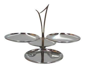 Mid Century Chrome and Brass Tiered Serving Tray