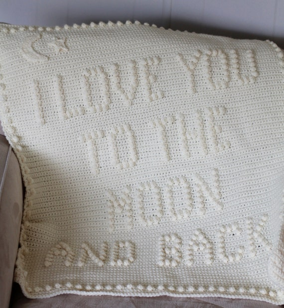 I Love You To The Moon and Back Crochet Baby Blanket Pattern - Baby Blanket Pattern - Blanket Pattern