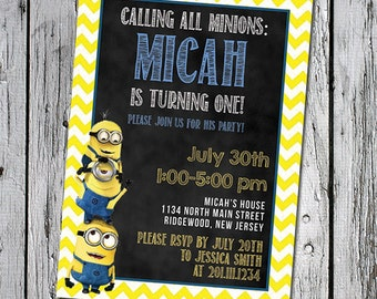Printable 5x7 Minions Birthday Party Invitation Yellow Minion Chevron Blue Chalkboard Children's party theme Minion