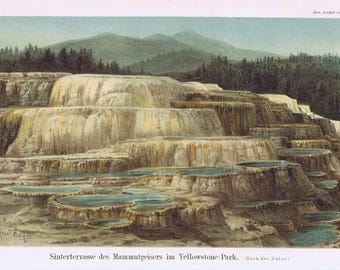 antique priont Sinter terrace of mammoth geyser in Yellowstone Park 1895