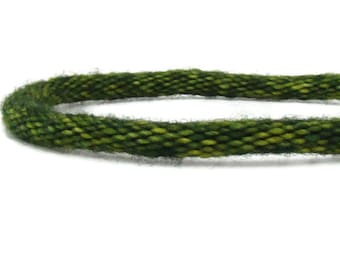 Cozy Collection-- variegated green hand dyed specialty yarn woven kumihimo bracelet with stainless steel magnetic clasp
