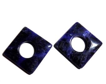 40% Sale -- Sodalite, 34 mm size, Cabochon stone, Square Shape, 2 pcs.