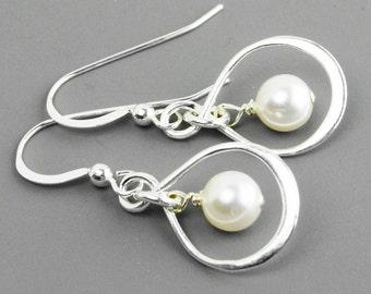 Sterling Silver Infinity Earrings - White Pearl Drop Earrings -Swarovski Pearl - Bridesmaid Jewelry - Sterling Silver Jewelry Handmade