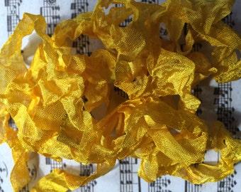 Hand dyed ribbon Mustard Seed seam binding crinkle crinkly stained ribbon TeamHaha Hafair OFG ADO Nooga Norga Mha Ellijay