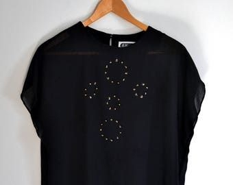 Vintage 1980's/1990's Black Top with Sequin Detail - Jo Hanna York by Joan Davis