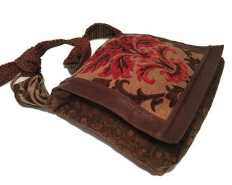 Messenger Patchwork Bag, Bohemian Style Bag, BoHo Crossbody, Patchwork Crossbody Bag, Mixed Fabric Messenger, Bohemian Style Crossbody Bag