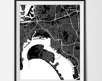 San Diego California State Map Art Print San Diego State University Map Art SDSU Dorm Decor Graduation Gift San Diego City Map San Diego Art