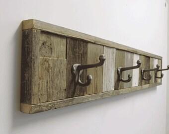 """37.5"""" Rustic Barnwood Panel Towel Hook Rack.   4 hook Wall Mounted towel holder...Reclaimed Wood"""