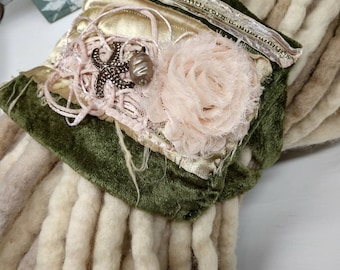 dreadlock headband - olive and blush hand sewn boho stretchy hair band with charms and jewel accents