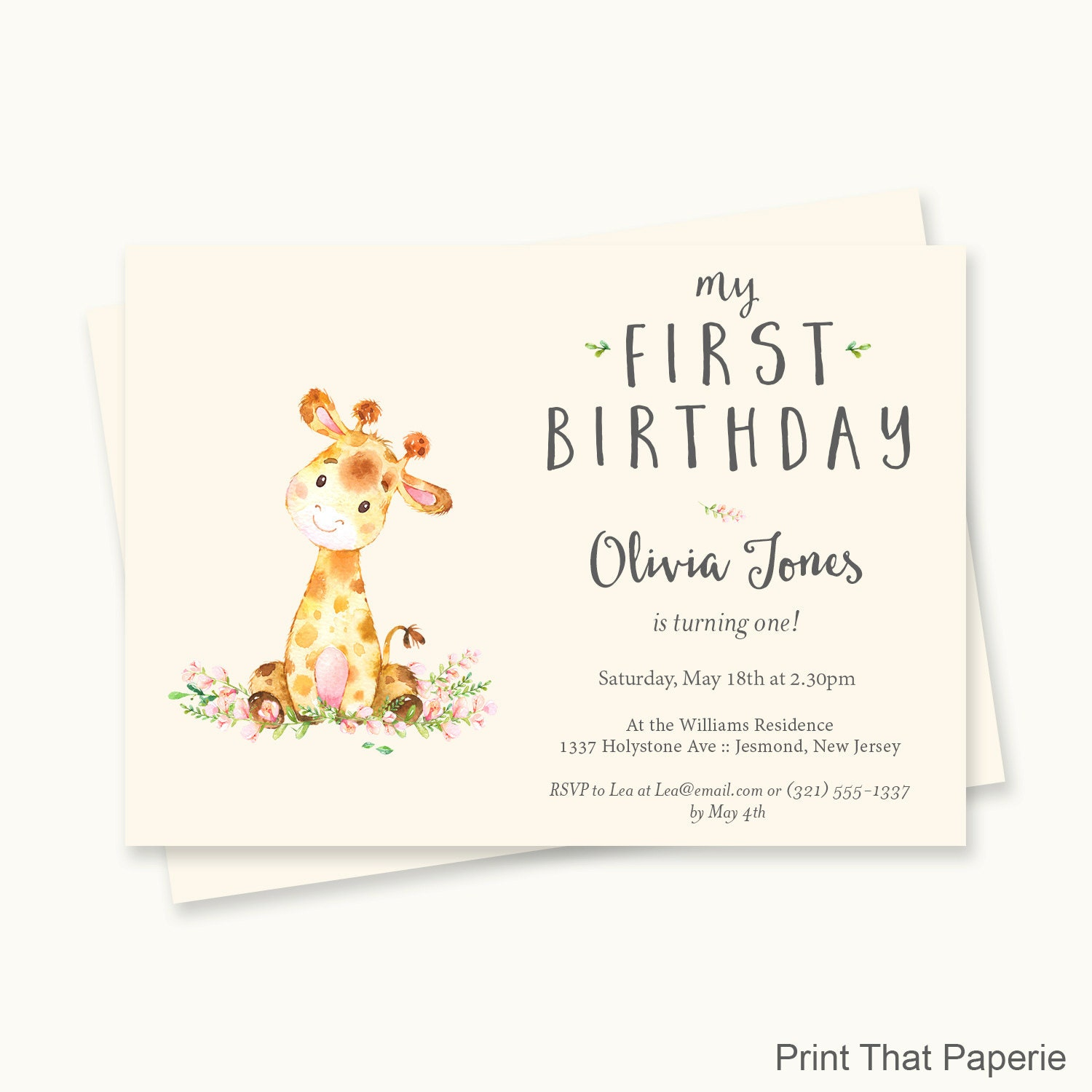 Giraffe Birthday Invitation First Birthday Invitation