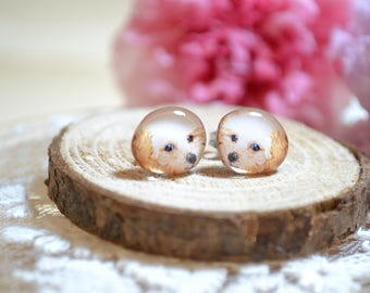 Poodle earrings handmade Tiny jewelry with linen cotton bag