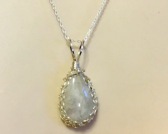 Rainbow Moonstone Pendant Wrapped in Sterling Silver 1.5 Inches Long on Optional 18 Inch Sterling Silver or Viking Knit Chain, One of a Kind