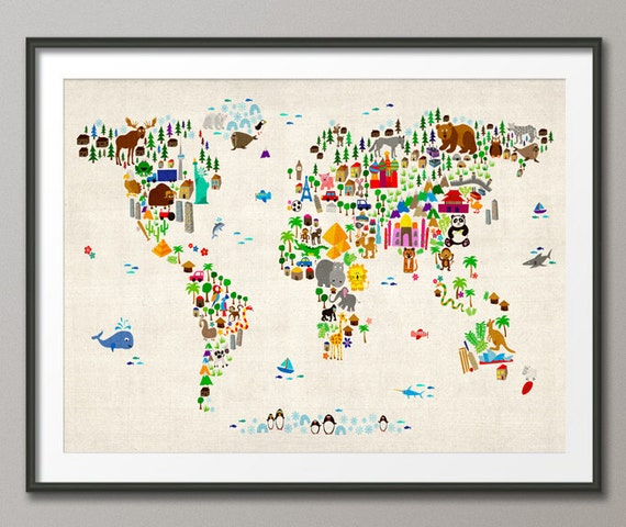 Animal map of the world map for children and kids art print like this item gumiabroncs Gallery