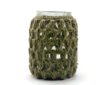 SALE Tea Light Holder, Glass Jar Vase, Candle Holder with Crocheted Overlay in Natural Jute Twine