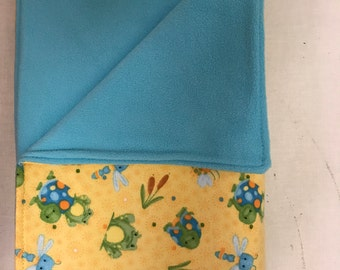 Yellow and Blue Crib Blanket