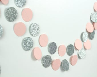 Pink and Silver Glitter Garland - Pink Paper Garland - Silver Circle Garland - Light Pink and Gray Baby Shower Decorations