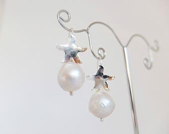 Dangle,baroque large pearl earrings,925 Italian  silver star fish ear wire Baroque Pearl earrings, baroque ivory white large pearl earrings