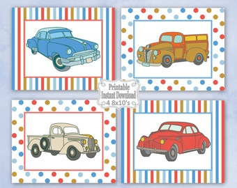 Printable Antique Vintage Retro Old Cars Trucks Nursery Wall Art Decor Baby Child Kids Boy ~ DIY Instant Download ~ 4 8x10 Prints