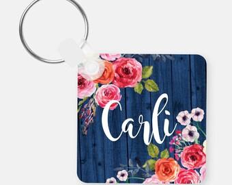 Monogram Keychain-Monogram Keychain-Personalized Keychain-Bag Tags-Luggage Tags-Watercolor Flowers-Wood Grain