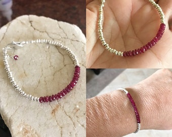 Ruby Bracelet, Red Bracelet, Skinny Bracelet, Stacking Bracelets, Hill Tribe Silver, Natures Splendour Jewelry, July Birthday