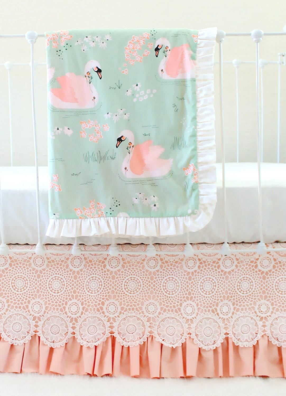 Mint Pfirsich Baby Bettwäsche Set benutzerdefinierte