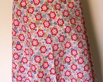 Cotton fabric white with flowers pink and blue