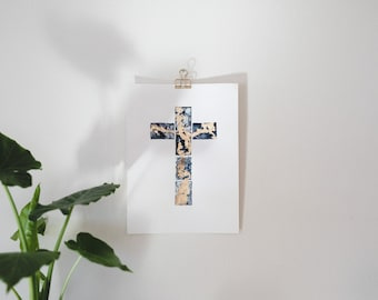 Watercolour Cross with Gold Leaf