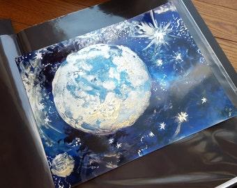 Rejoicing Moon Mixed Media Art Print