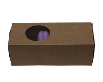 TAX SEASON Stock up 5 Pc Pretty Kraft Cut Out Circle Window Front Macaron Boxes with Inserts 6 1/4 x 2 1/4 x 2 inches