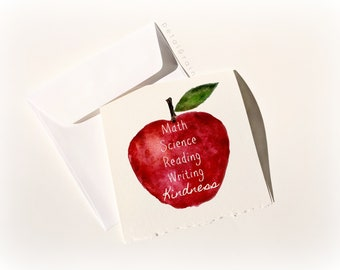 Kindness Apple: Watercolor Card