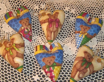 Set of 6 Fabric Bear Collector  Hearts - Ornaments - Valentine Decor - Bowl Fillers - Wreath or Garland-Making