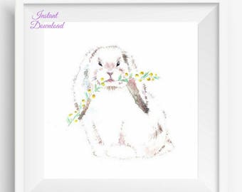 bunny art print, baby bunny print, nursery bunny print, Bunny Nursery Art, Bunny Nursery Decor, Rabbit Nursery Decor, Woodland Nursery art