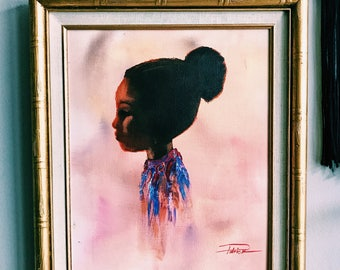 "Vintage 20"" Framed Oil Painting of Little Girl Silhouette w/ Gold Faux Bamboo Frame"