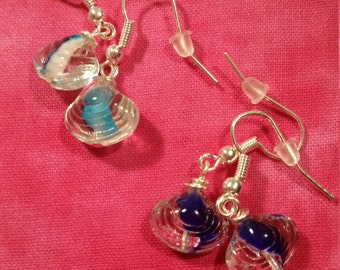 Glass Sea Shell Earrings - Pick Your Color