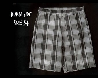 men's retro shorts, Grey plaid shorts -  men's vintage 80's shorts,  men's plaid shorts, men's Dress shorts -  waist  34 shorts,   # 43