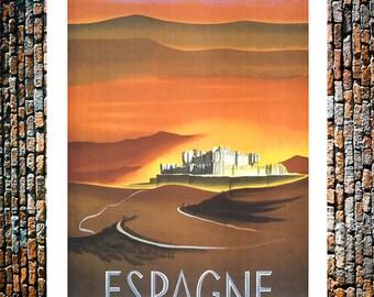 Espagne Vintage Travel Ad, Sunset Art, Vintage Travel Art, Vintage Travel Print, Vintage Art, Giclee Art Print, fine Art Reproduction