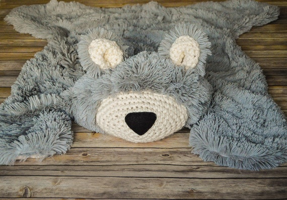 Nursery Rug Large Bear Rug Woodland Nursery Rug