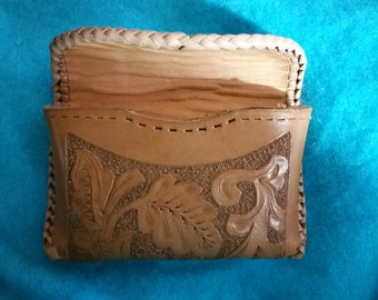 Vintage Leather Lined Hand Tooled Leather Pouch Not Quite Finished